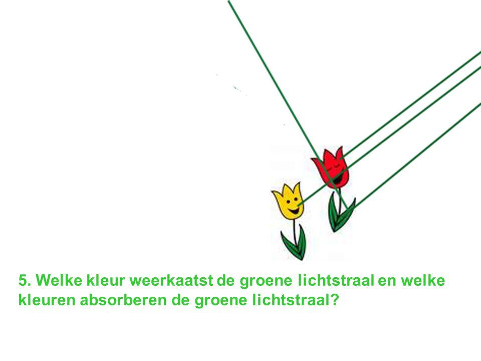 5. Welke kleur weerkaatst de groene lichtstraal en welke kleuren absorberen de groene lichtstraal?