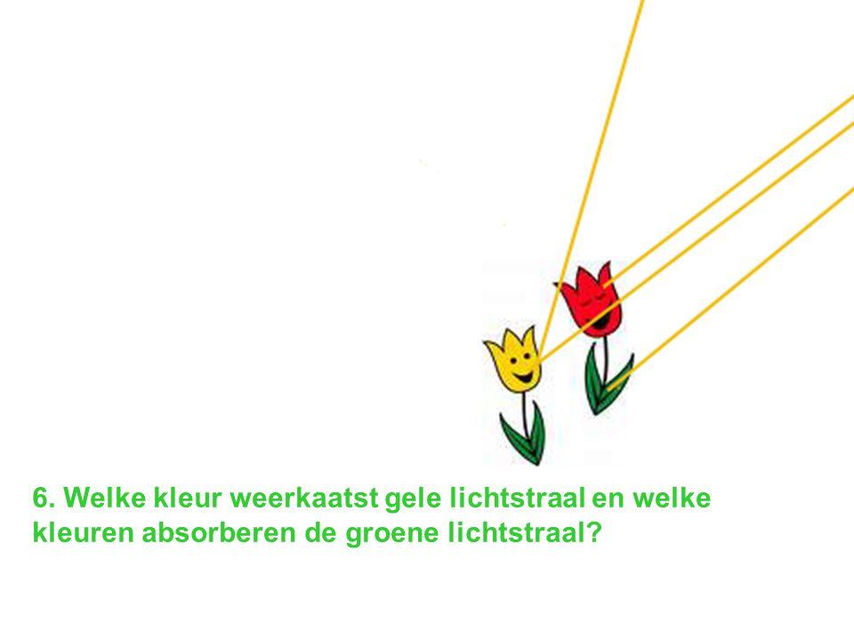 6. Welke kleur weerkaatst gele lichtstraal en welke kleuren absorberen de groene lichtstraal?
