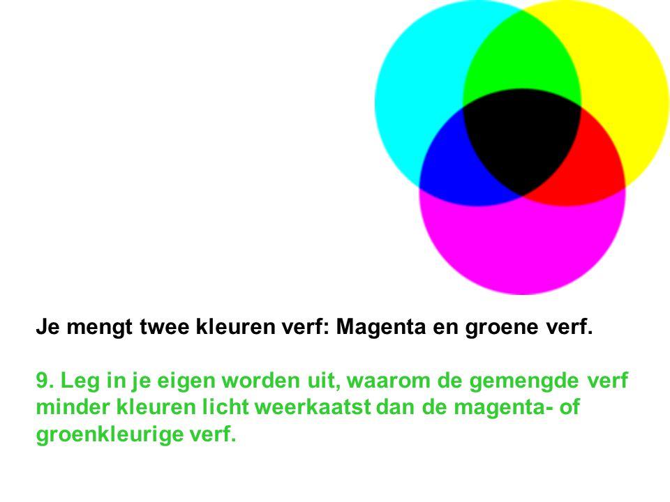 Je mengt twee kleuren verf: Magenta en groene verf. 9. Leg in je eigen worden uit, waarom de gemengde verf minder kleuren licht weerkaatst dan de mage