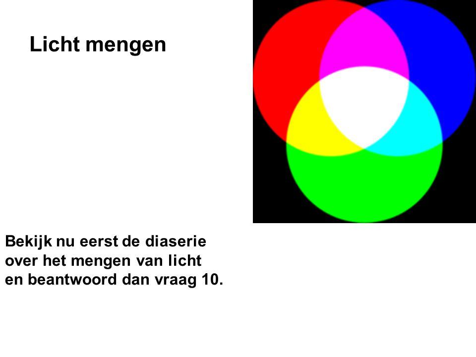 Licht mengen Bekijk nu eerst de diaserie over het mengen van licht en beantwoord dan vraag 10.