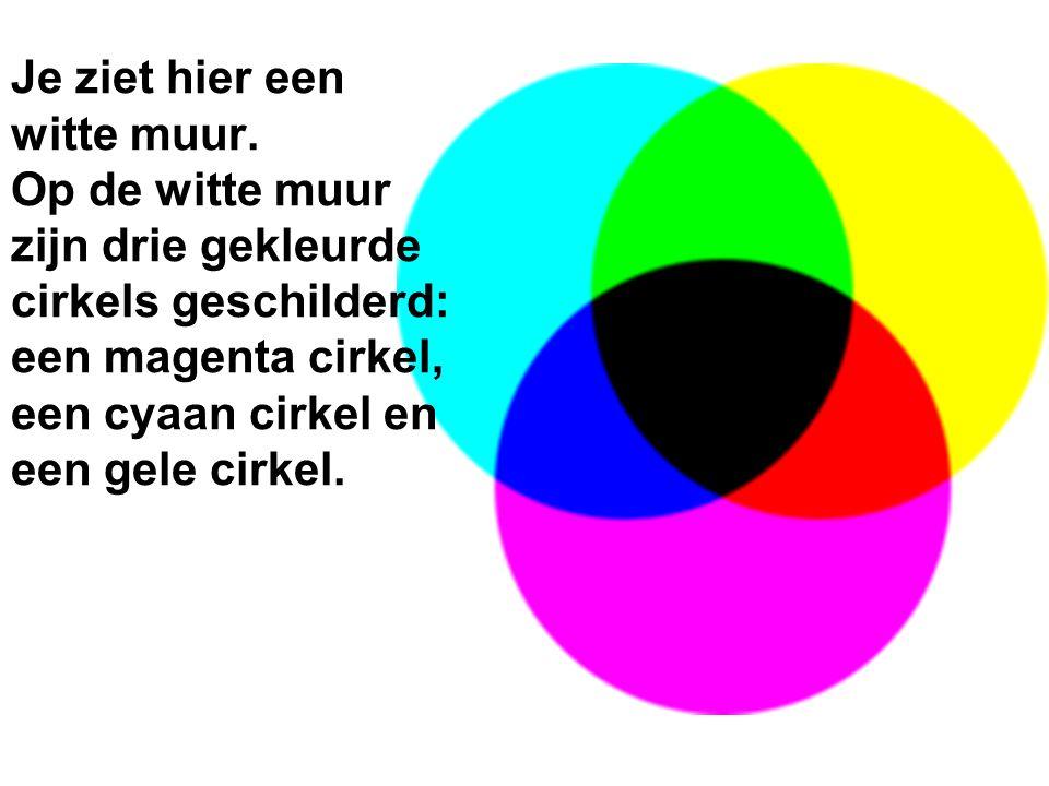 Je ziet hier een witte muur. Op de witte muur zijn drie gekleurde cirkels geschilderd: een magenta cirkel, een cyaan cirkel en een gele cirkel.