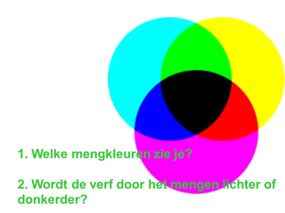 1. Welke mengkleuren zie je? 2. Wordt de verf door het mengen lichter of donkerder?