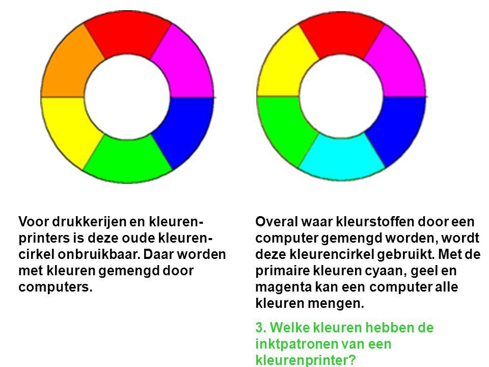 Voor drukkerijen en kleuren- printers is deze oude kleuren- cirkel onbruikbaar. Daar worden met kleuren gemengd door computers. Overal waar kleurstoff