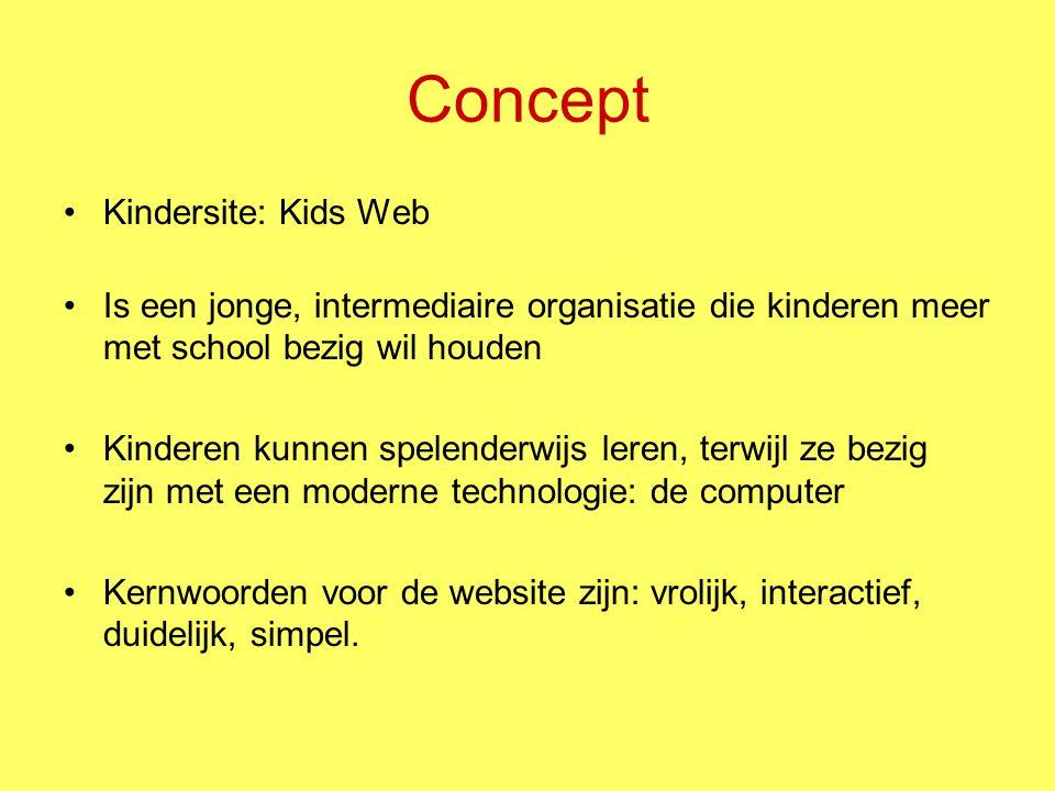 Concept Kindersite: Kids Web Is een jonge, intermediaire organisatie die kinderen meer met school bezig wil houden Kinderen kunnen spelenderwijs leren