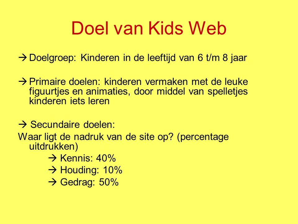 Kids Web (1) Soort concept en format: –interactieve website waardoor de kinderen kunnen navigeren – een einddoel bereiken door verschillende opdrachten Techniek: –Website –Animatie in de vorm van een spel Kleurgebruik: Vrolijke, felle kleuren, waar kinderen veel van houden