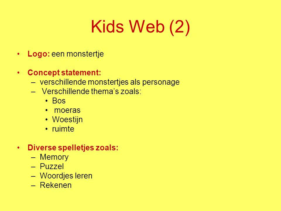 Kids Web (2) Logo: een monstertje Concept statement: –verschillende monstertjes als personage – Verschillende thema's zoals: Bos moeras Woestijn ruimt