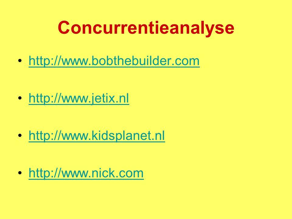 Concurrentieanalyse http://www.bobthebuilder.com http://www.jetix.nl http://www.kidsplanet.nl http://www.nick.com