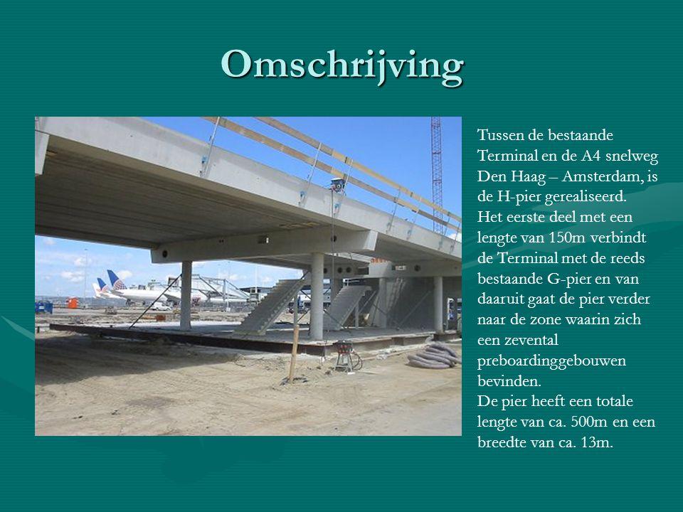 Omschrijving Tussen de bestaande Terminal en de A4 snelweg Den Haag – Amsterdam, is de H-pier gerealiseerd. Het eerste deel met een lengte van 150m ve