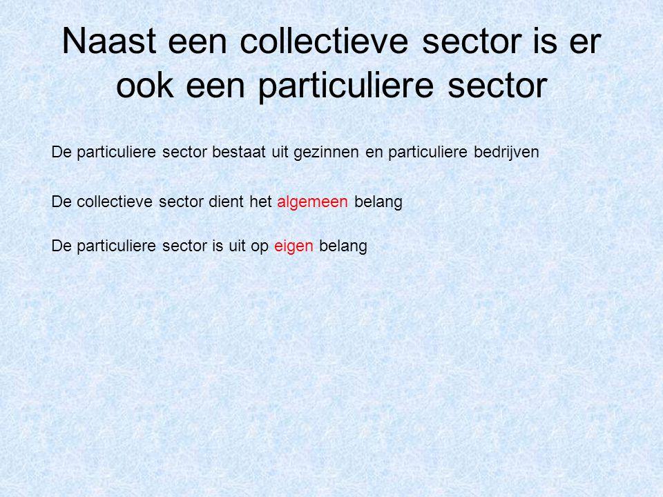 Naast een collectieve sector is er ook een particuliere sector De particuliere sector bestaat uit gezinnen en particuliere bedrijven De collectieve sector dient het algemeen belang De particuliere sector is uit op eigen belang