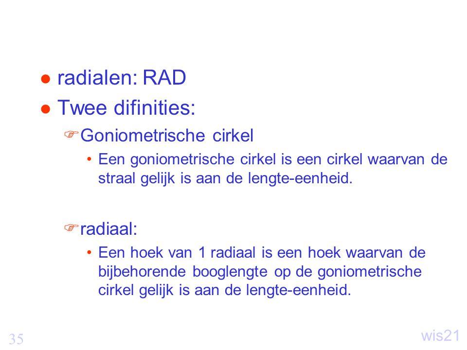 35 wis21 radialen: RAD Twee difinities:  Goniometrische cirkel Een goniometrische cirkel is een cirkel waarvan de straal gelijk is aan de lengte-eenheid.