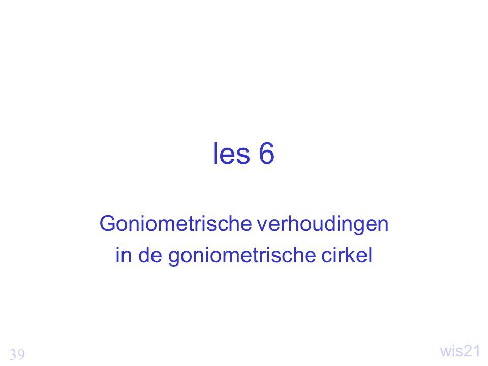 39 wis21 les 6 Goniometrische verhoudingen in de goniometrische cirkel