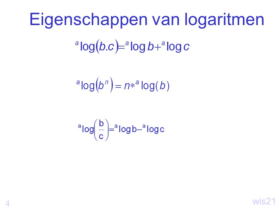 4 wis21 Eigenschappen van logaritmen