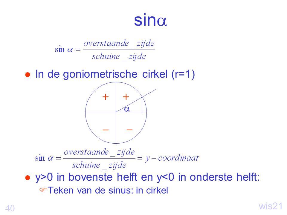40 wis21 sin  In de goniometrische cirkel (r=1) y>0 in bovenste helft en y<0 in onderste helft:  Teken van de sinus: in cirkel  ++ _ _