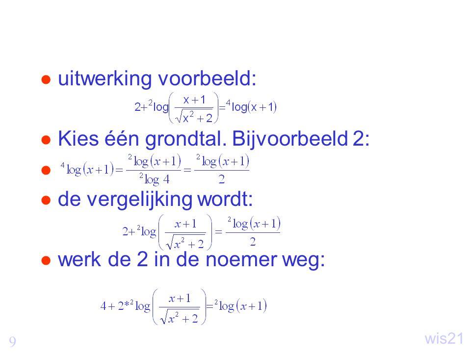 50 wis21 Vergelijkingen van de vorm cosx=a Gegeven a Gevraagd x als cosx=a bepaal met rekenmachine of tabel de x  wiskundig: x=arccos(a) op rekenmachine: cos -1 in excel: =boogcos(a)  de volledige oplossing is x=arccos(a)+k.2  en x=-arccos(a)+k.2  –k kan positief, nul en negatief zijn