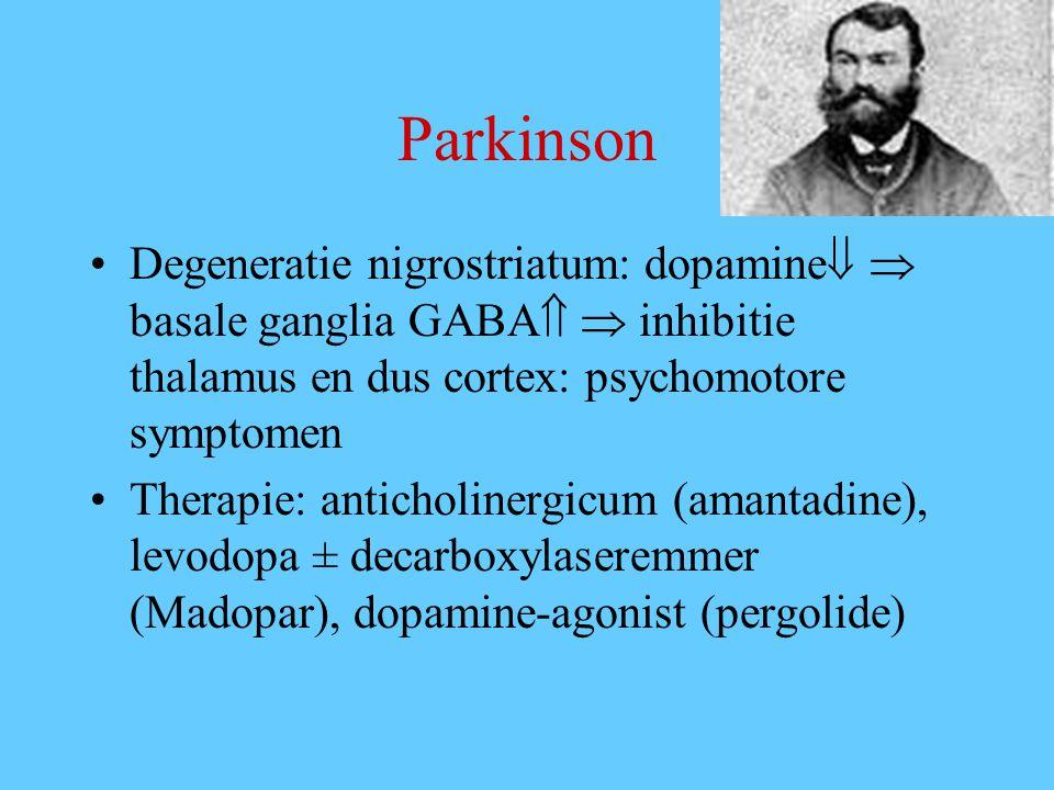 Parkinson Degeneratie nigrostriatum: dopamine   basale ganglia GABA   inhibitie thalamus en dus cortex: psychomotore symptomen Therapie: anticholinergicum (amantadine), levodopa ± decarboxylaseremmer (Madopar), dopamine-agonist (pergolide)
