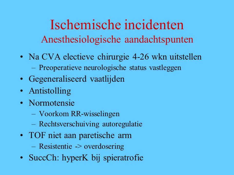 Ischemische incidenten Anesthesiologische aandachtspunten Na CVA electieve chirurgie 4-26 wkn uitstellen –Preoperatieve neurologische status vastlegge