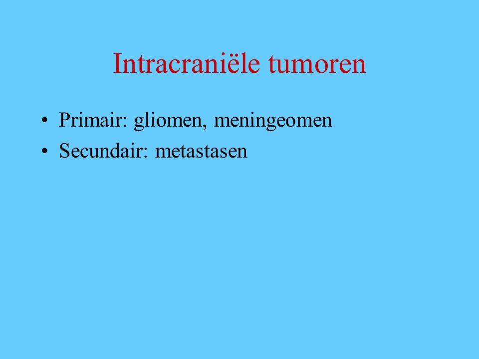 Intracraniële tumoren Primair: gliomen, meningeomen Secundair: metastasen