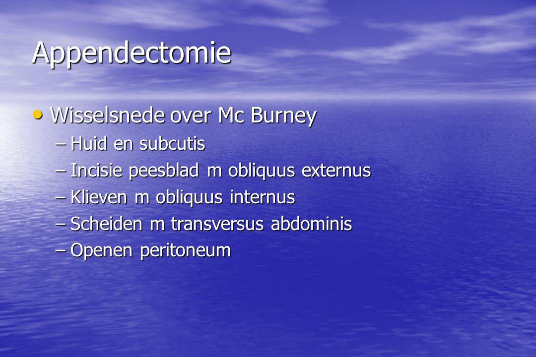 Appendectomie Wisselsnede over Mc Burney Wisselsnede over Mc Burney –Huid en subcutis –Incisie peesblad m obliquus externus –Klieven m obliquus internus –Scheiden m transversus abdominis –Openen peritoneum