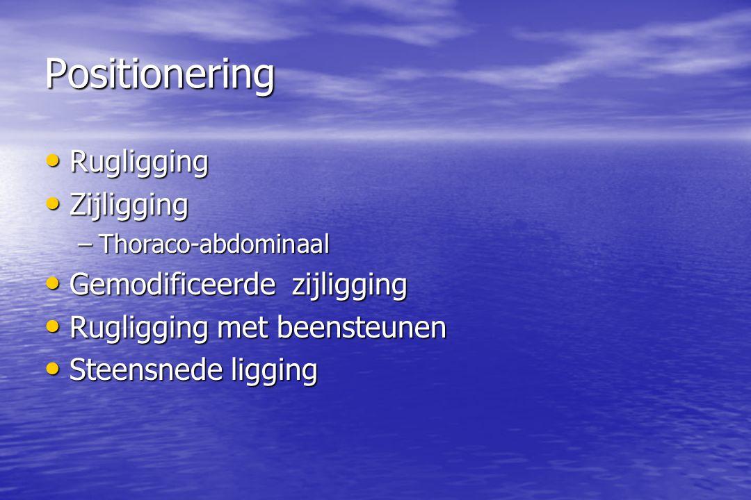 Positionering Rugligging Rugligging Zijligging Zijligging –Thoraco-abdominaal Gemodificeerde zijligging Gemodificeerde zijligging Rugligging met beensteunen Rugligging met beensteunen Steensnede ligging Steensnede ligging