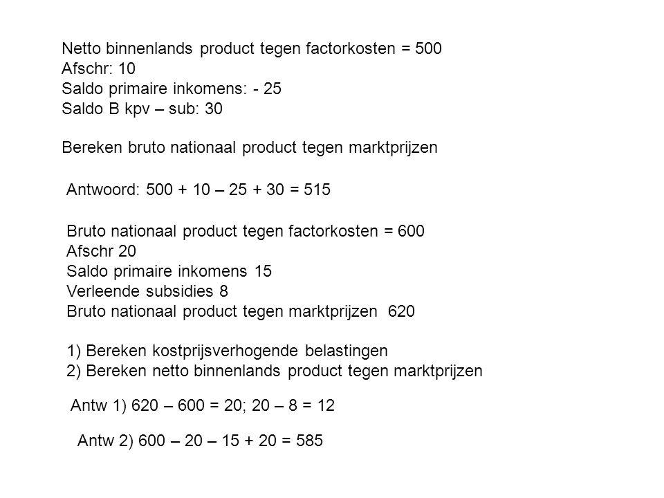 Netto binnenlands product tegen factorkosten = 500 Afschr: 10 Saldo primaire inkomens: - 25 Saldo B kpv – sub: 30 Bereken bruto nationaal product tege