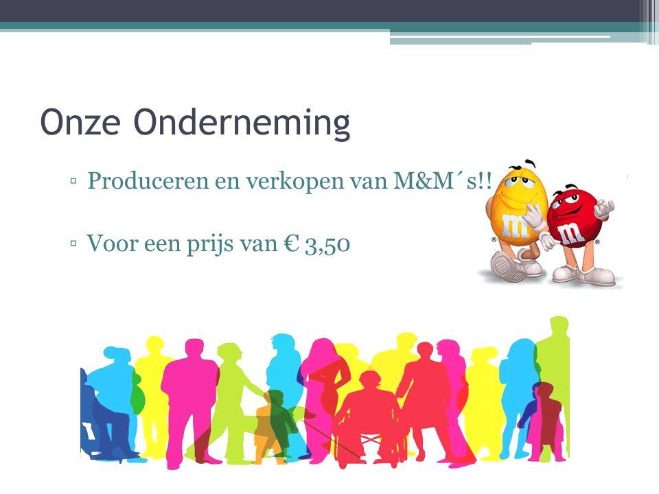 Onze Onderneming ▫Produceren en verkopen van M&M´s!! ▫Voor een prijs van € 3,50