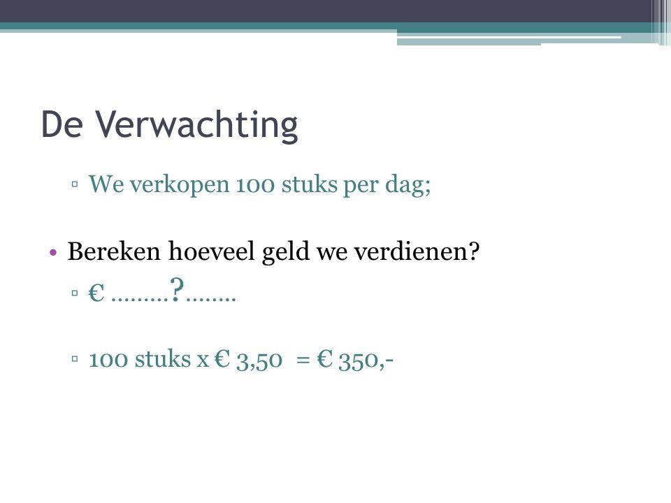De Verwachting ▫We verkopen 100 stuks per dag; Bereken hoeveel geld we verdienen? ▫€ ……… ? …….. ▫100 stuks x € 3,50 = € 350,-