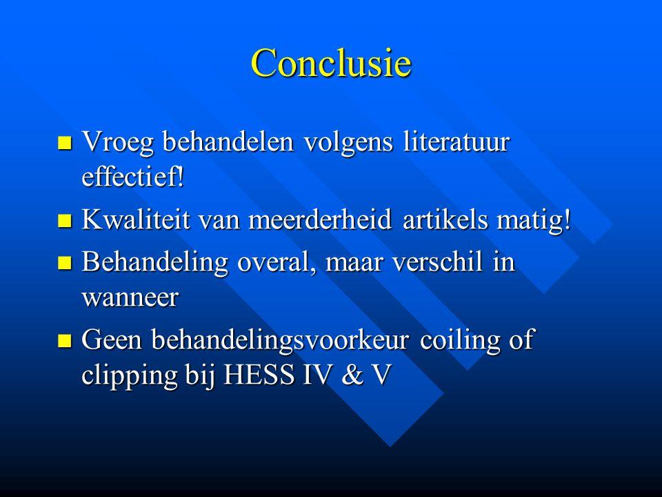 Conclusie Vroeg behandelen volgens literatuur effectief.
