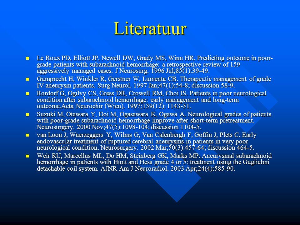 Literatuur Le Roux PD, Elliott JP, Newell DW, Grady MS, Winn HR.