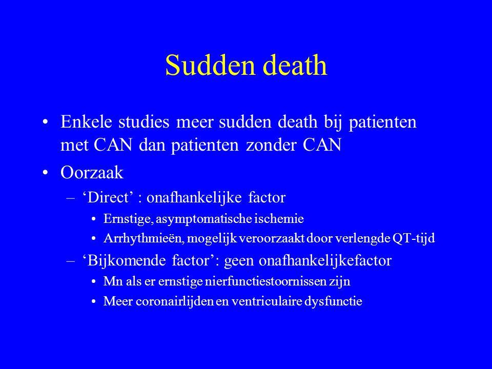 Sudden death Enkele studies meer sudden death bij patienten met CAN dan patienten zonder CAN Oorzaak –'Direct' : onafhankelijke factor Ernstige, asymptomatische ischemie Arrhythmieën, mogelijk veroorzaakt door verlengde QT-tijd –'Bijkomende factor': geen onafhankelijkefactor Mn als er ernstige nierfunctiestoornissen zijn Meer coronairlijden en ventriculaire dysfunctie