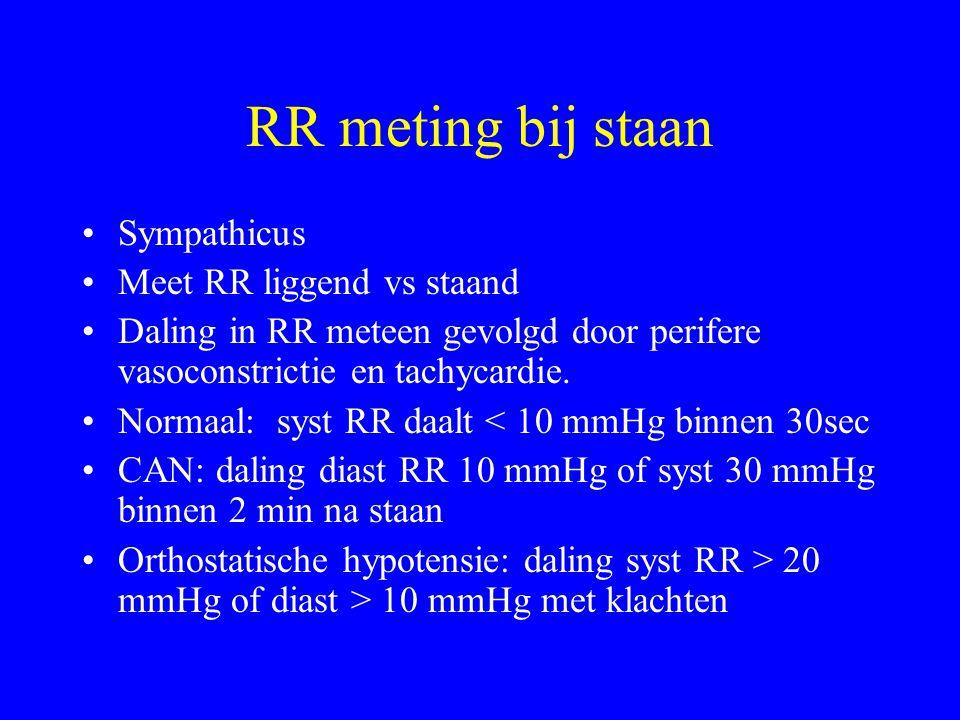 RR meting bij staan Sympathicus Meet RR liggend vs staand Daling in RR meteen gevolgd door perifere vasoconstrictie en tachycardie.