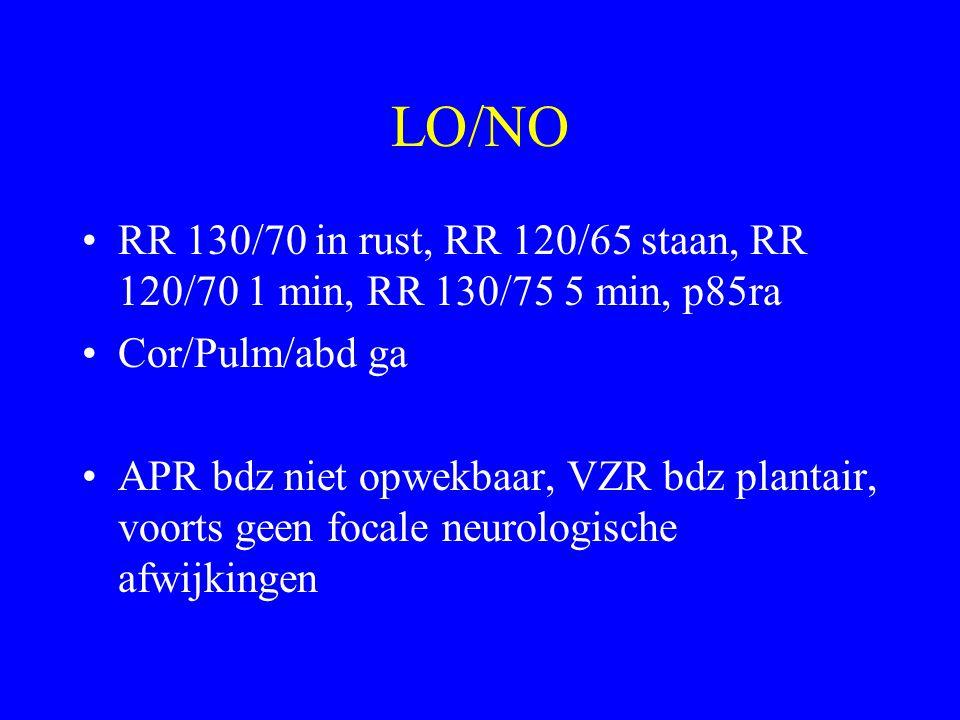 LO/NO RR 130/70 in rust, RR 120/65 staan, RR 120/70 1 min, RR 130/75 5 min, p85ra Cor/Pulm/abd ga APR bdz niet opwekbaar, VZR bdz plantair, voorts geen focale neurologische afwijkingen