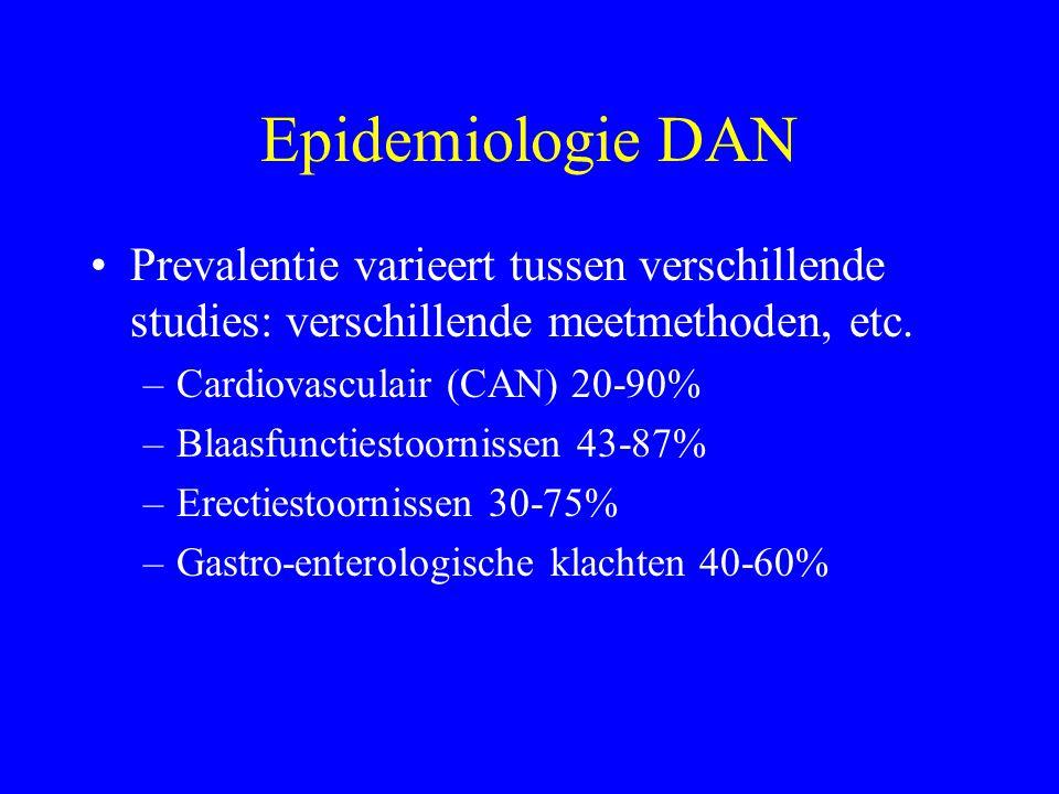 Kliniek DAN Cardiovasculair Rusttachycardie, inspanningsintolerantie, orthostatische hypotensie, stille myocardischemie Gastro-enterologisch Oesophagus dysmotiliteit, gastroparese, obstipatie, diarree, feacale incontinentie Uro-genitale stelsel Neurogene blaas, erectiestoornissen, verminderde vaginale lubricatie