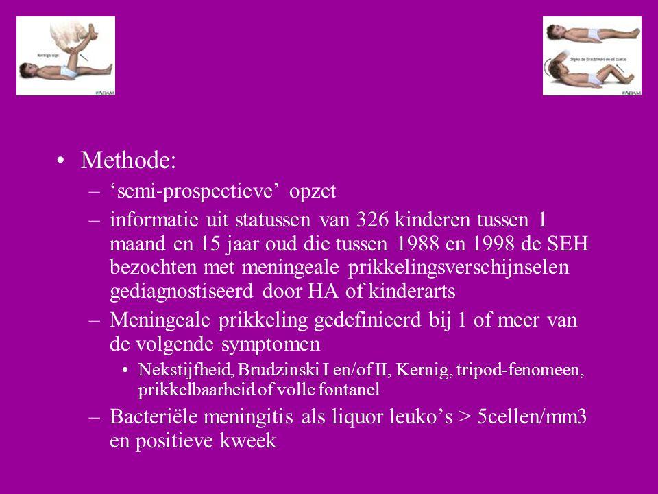 Methode: –'semi-prospectieve' opzet –informatie uit statussen van 326 kinderen tussen 1 maand en 15 jaar oud die tussen 1988 en 1998 de SEH bezochten met meningeale prikkelingsverschijnselen gediagnostiseerd door HA of kinderarts –Meningeale prikkeling gedefinieerd bij 1 of meer van de volgende symptomen Nekstijfheid, Brudzinski I en/of II, Kernig, tripod-fenomeen, prikkelbaarheid of volle fontanel –Bacteriële meningitis als liquor leuko's > 5cellen/mm3 en positieve kweek