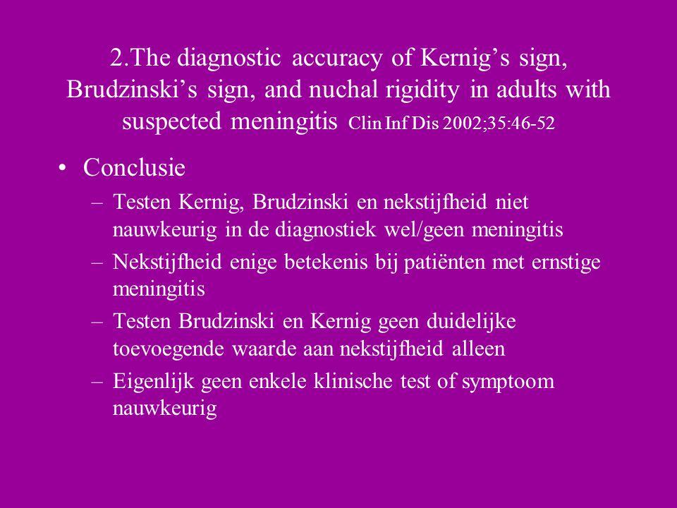 Conclusie –Testen Kernig, Brudzinski en nekstijfheid niet nauwkeurig in de diagnostiek wel/geen meningitis –Nekstijfheid enige betekenis bij patiënten met ernstige meningitis –Testen Brudzinski en Kernig geen duidelijke toevoegende waarde aan nekstijfheid alleen –Eigenlijk geen enkele klinische test of symptoom nauwkeurig