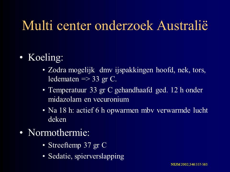 Multi center onderzoek Australië Koeling: Zodra mogelijk dmv ijspakkingen hoofd, nek, tors, ledematen => 33 gr C. Temperatuur 33 gr C gehandhaafd ged.