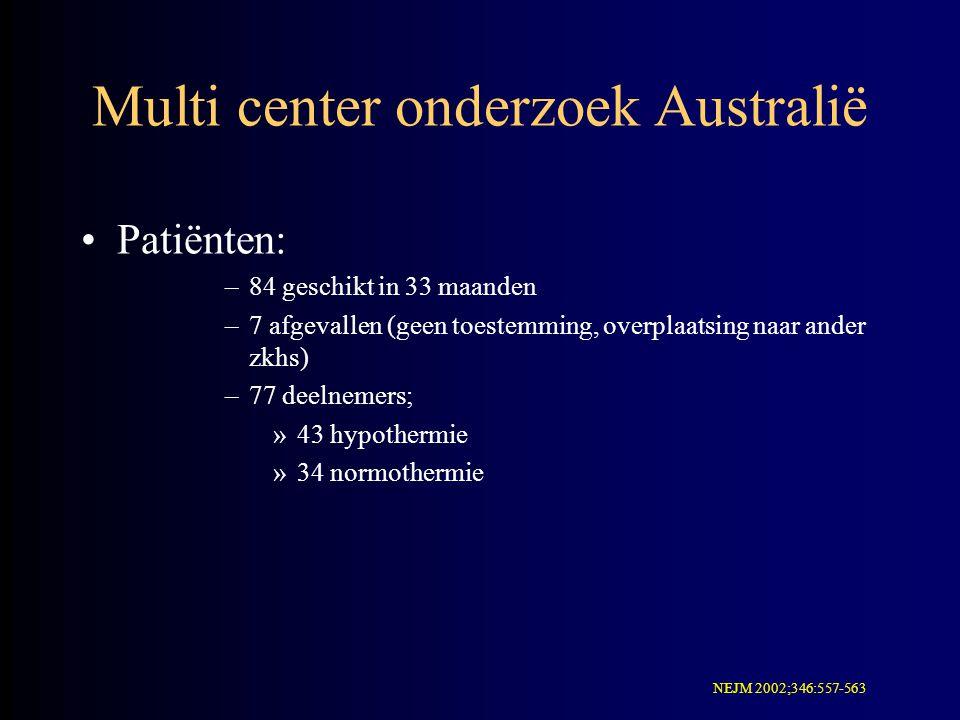 Multi center onderzoek Australië Patiënten: –84 geschikt in 33 maanden –7 afgevallen (geen toestemming, overplaatsing naar ander zkhs) –77 deelnemers;