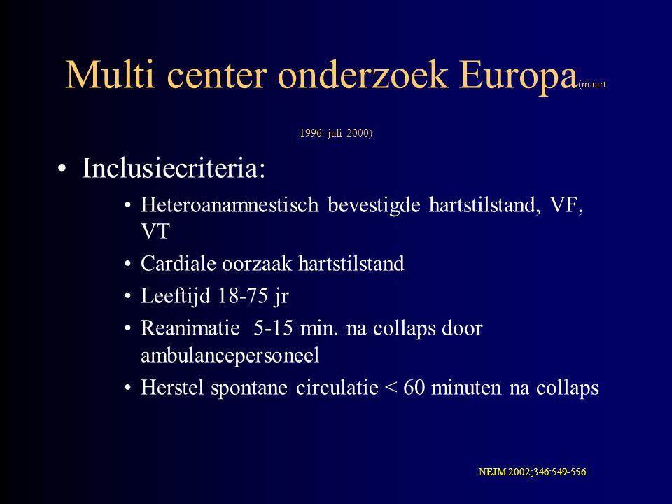 Multi center onderzoek Europa (maart 1996- juli 2000) Inclusiecriteria: Heteroanamnestisch bevestigde hartstilstand, VF, VT Cardiale oorzaak hartstils