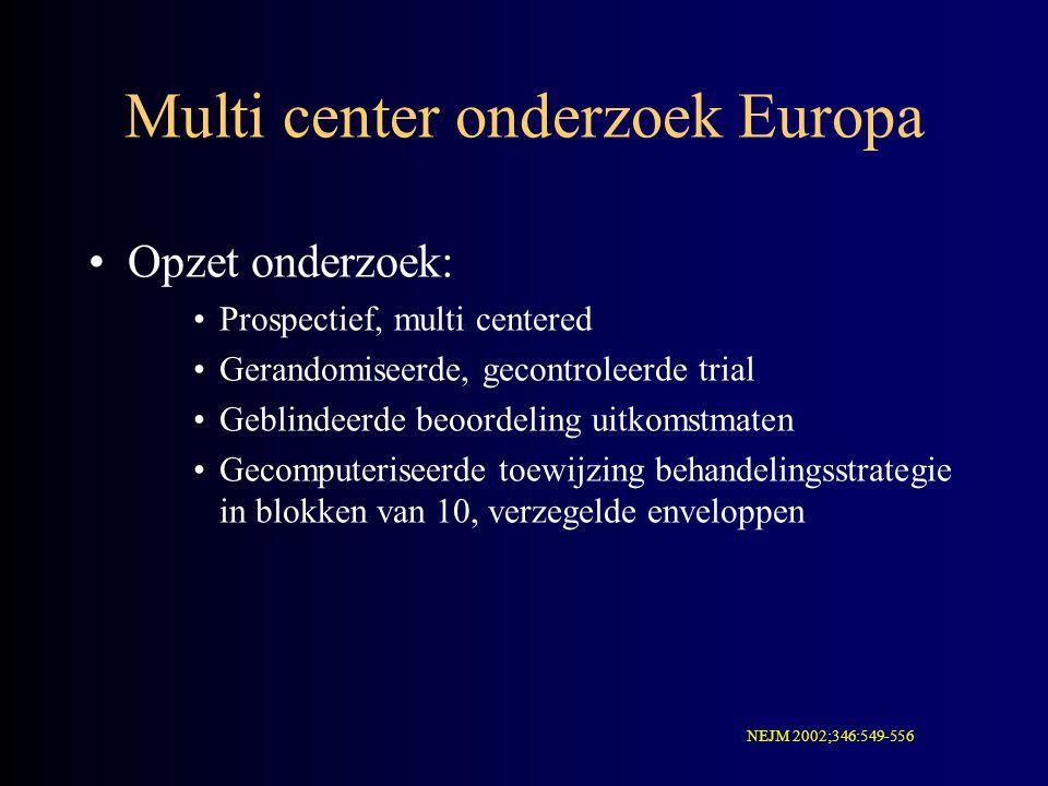Multi center onderzoek Europa Opzet onderzoek: Prospectief, multi centered Gerandomiseerde, gecontroleerde trial Geblindeerde beoordeling uitkomstmate
