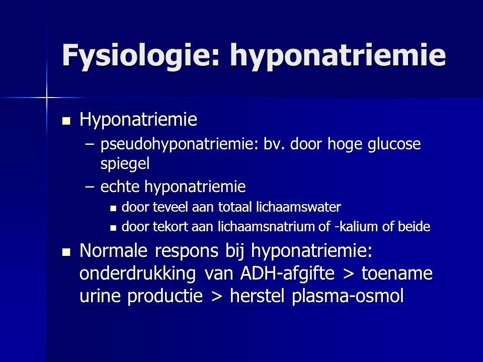 Fysiologie: hyponatriemie Hyponatriemie Hyponatriemie –pseudohyponatriemie: bv. door hoge glucose spiegel –echte hyponatriemie door teveel aan totaal