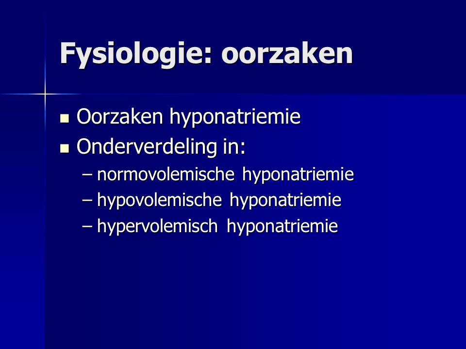 Fysiologie: oorzaken Oorzaken hyponatriemie Oorzaken hyponatriemie Onderverdeling in: Onderverdeling in: –normovolemische hyponatriemie –hypovolemisch