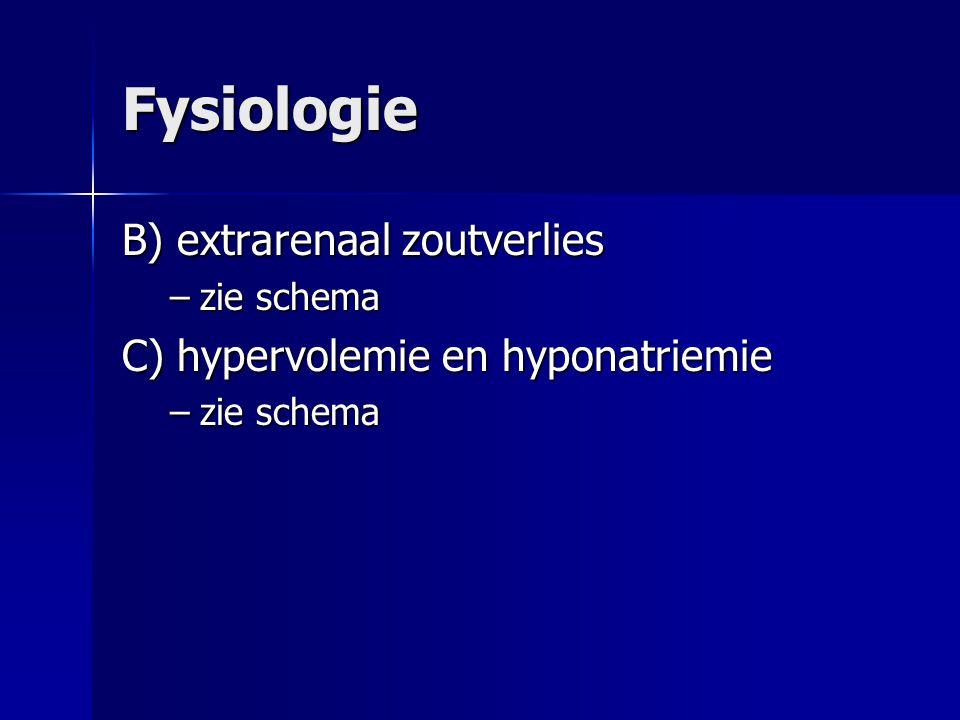 Fysiologie B) extrarenaal zoutverlies –zie schema C) hypervolemie en hyponatriemie –zie schema