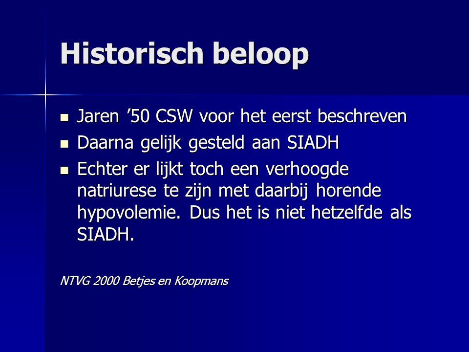 Historisch beloop Jaren '50 CSW voor het eerst beschreven Jaren '50 CSW voor het eerst beschreven Daarna gelijk gesteld aan SIADH Daarna gelijk gestel