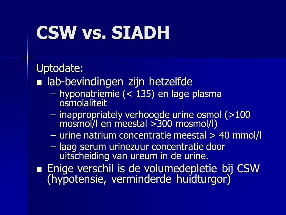 CSW vs. SIADH Uptodate: lab-bevindingen zijn hetzelfde lab-bevindingen zijn hetzelfde –hyponatriemie (< 135) en lage plasma osmolaliteit –inappropriat