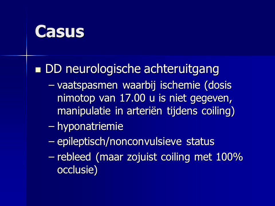 Casus: Beleid Lab 25/10: Na + 121 > 126, K + 3.17 > 3.41, ureum 3.8, kreat 45, glucose onbekend Lab 25/10: Na + 121 > 126, K + 3.17 > 3.41, ureum 3.8, kreat 45, glucose onbekend Urine: osmolaliteit 86, Na + 5 Urine: osmolaliteit 86, Na + 5 CTc 25/10: SAB, coilartefacten, mogelijk hypodensiteit links in gyrus precentralis CTc 25/10: SAB, coilartefacten, mogelijk hypodensiteit links in gyrus precentralis Nimotop alsnog geven (via perfusor) Nimotop alsnog geven (via perfusor)