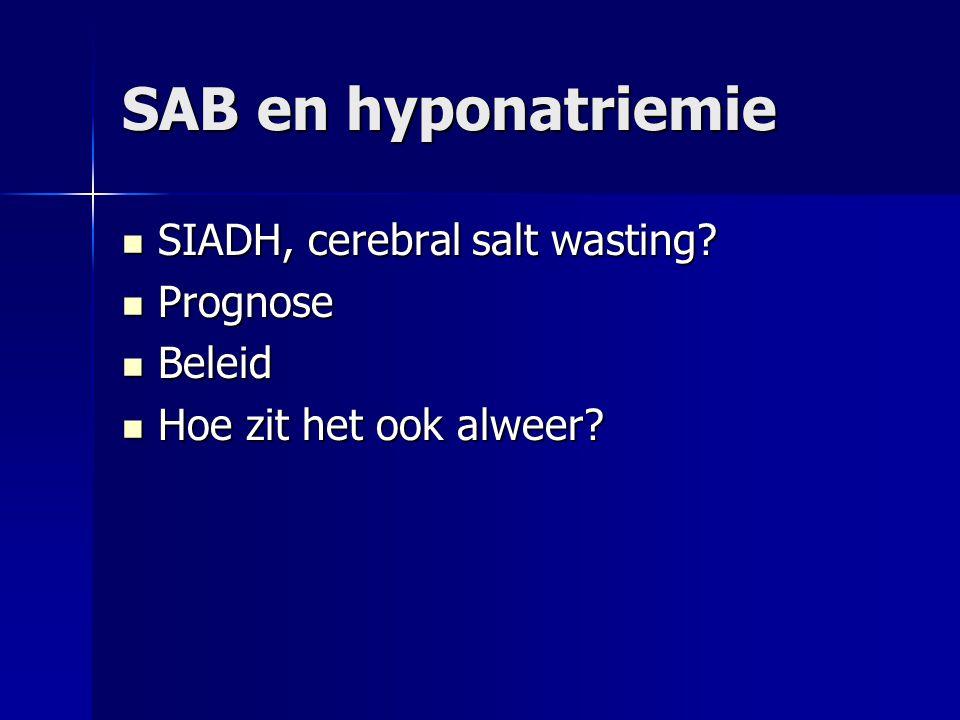 SAB en hyponatriemie SIADH, cerebral salt wasting? SIADH, cerebral salt wasting? Prognose Prognose Beleid Beleid Hoe zit het ook alweer? Hoe zit het o