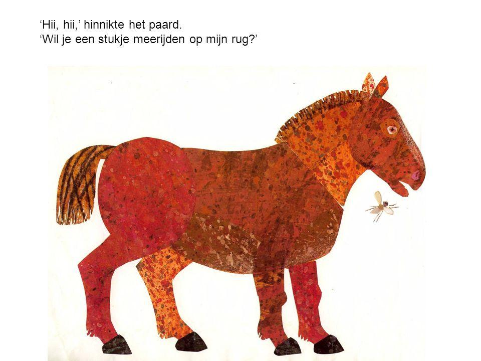 'Hii, hii,' hinnikte het paard. 'Wil je een stukje meerijden op mijn rug?'