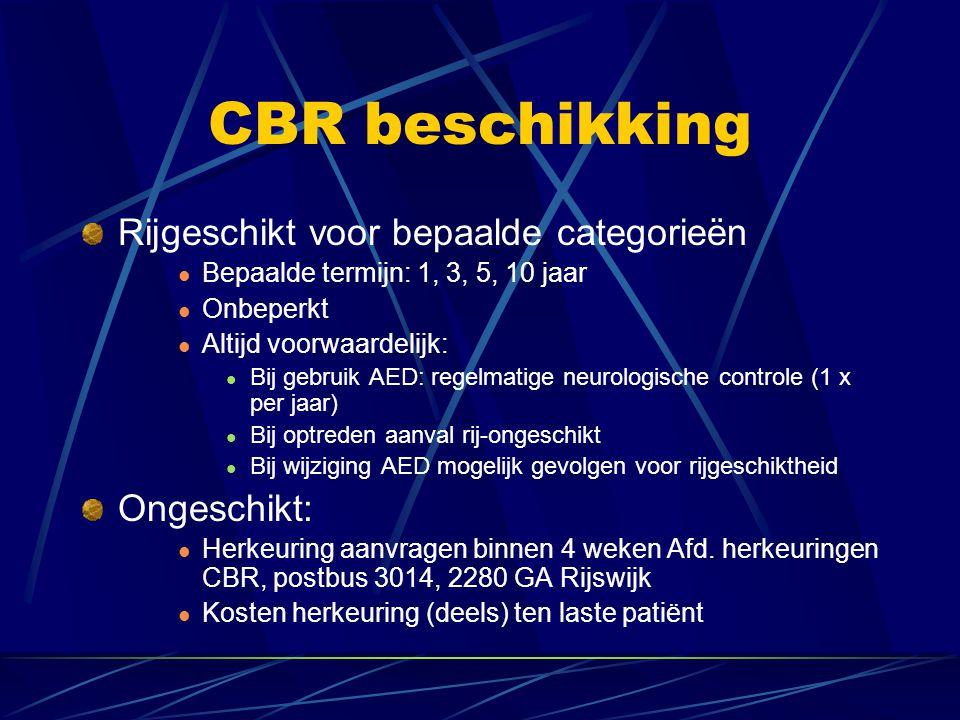 CBR beschikking Rijgeschikt voor bepaalde categorieën Bepaalde termijn: 1, 3, 5, 10 jaar Onbeperkt Altijd voorwaardelijk: Bij gebruik AED: regelmatige