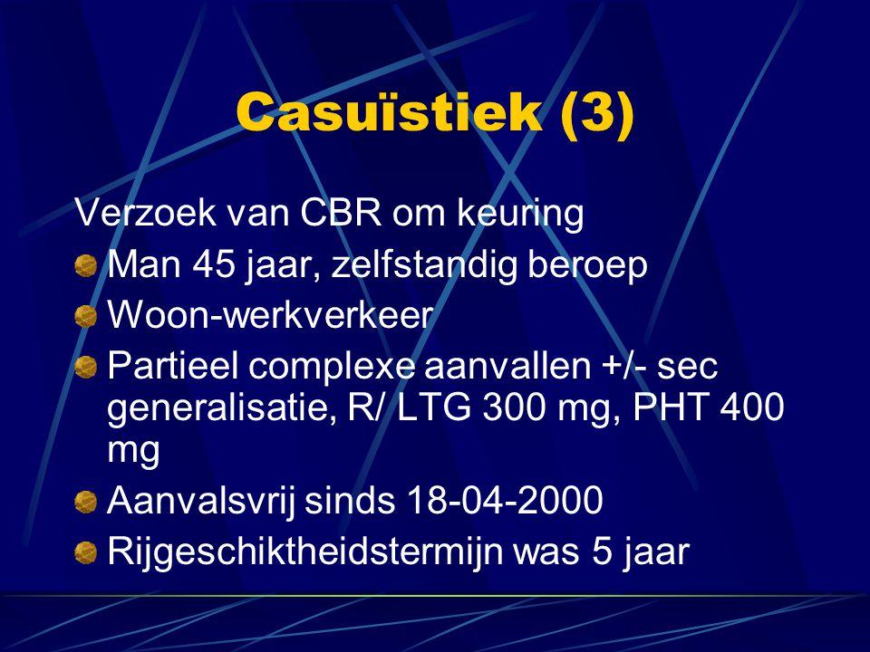 Verzoek van CBR om keuring Man 45 jaar, zelfstandig beroep Woon-werkverkeer Partieel complexe aanvallen +/- sec generalisatie, R/ LTG 300 mg, PHT 400