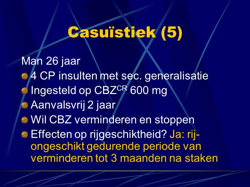 Casuïstiek (5) Man 26 jaar 4 CP insulten met sec. generalisatie Ingesteld op CBZ CR 600 mg Aanvalsvrij 2 jaar Wil CBZ verminderen en stoppen Ja: rij-