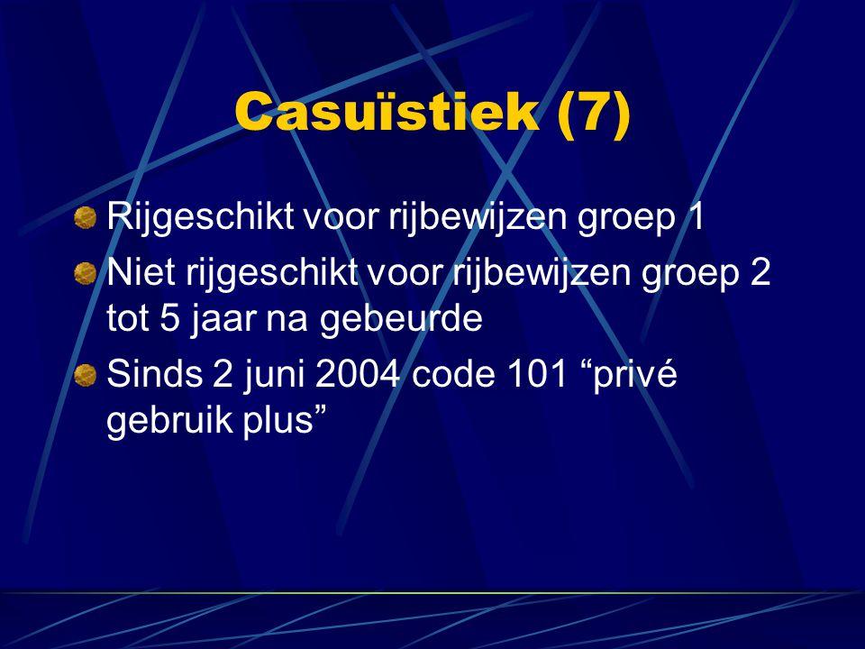 """Rijgeschikt voor rijbewijzen groep 1 Niet rijgeschikt voor rijbewijzen groep 2 tot 5 jaar na gebeurde Sinds 2 juni 2004 code 101 """"privé gebruik plus"""""""